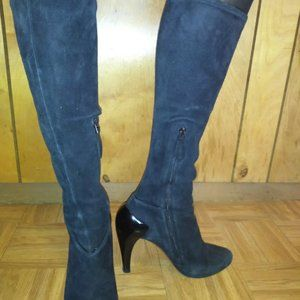 Alaia 5.5N Black Suede Knee High Heel Boots